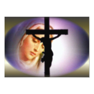 Blessed Virgin Mary in the Shadow of the Cross 13 Cm X 18 Cm Invitation Card