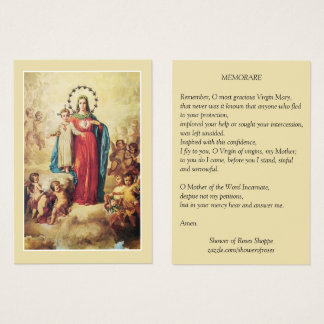 Blessed Virgin Mary Jesus Angels  Memorare Prayer Business Card