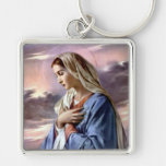 Blessed Virgin Mary - Mother of God Silver-Colored Square Key Ring