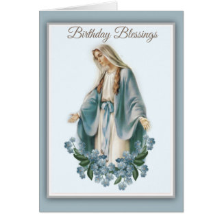 Blessed Virgin Mary Mother with Flowers Card