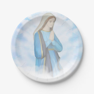 Blessed Virgin Mary Paper Plate 7 Inch Paper Plate