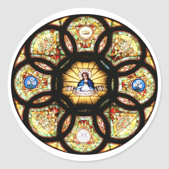 Blessed Virgin Mary Stained Glass Classic Round Sticker