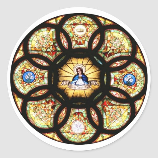 Blessed Virgin Mary Stained Glass Round Sticker