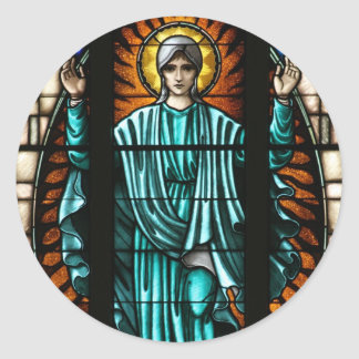 Blessed Virgin Mary Stained Glass Round Stickers