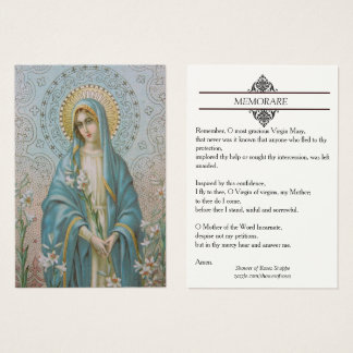 Blessed Virgin Mary with Lilies Memorare Holy Card
