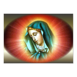 Blessed Virgin Mary with Vivid Halo 13 Cm X 18 Cm Invitation Card