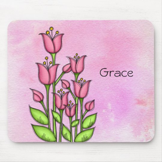 Blessed Watercolor Doodle Flower Mousepad
