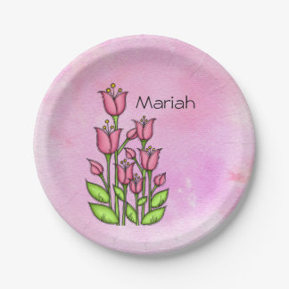 Blessed Watercolor Doodle Flower Plate