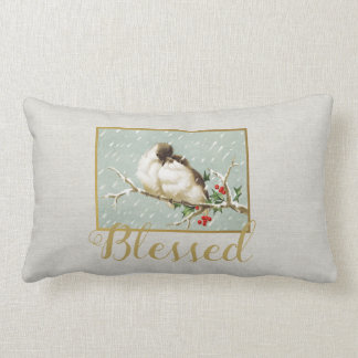 Blessed Winter Vintage Snow Birds Lumbar Cushion