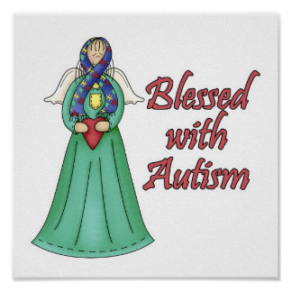 Blessed With Autism Awarness Angel Design Poster