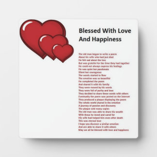 Blessed With Love And Happiness Poem On Plaque