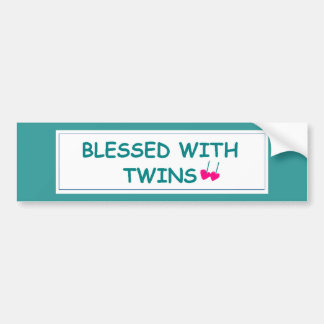 Blessed with Twins Two Hearts Bumper Sticker