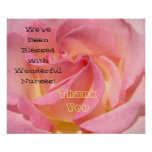 Blessed Wonderful Nurse art prints Thank You Rose Poster