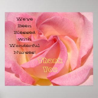 Blessed Wonderful Nurse art prints Thank You Rose Poster