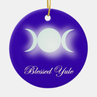 Blessed Yule (Triple Moon Goddess) Christmas Ornament
