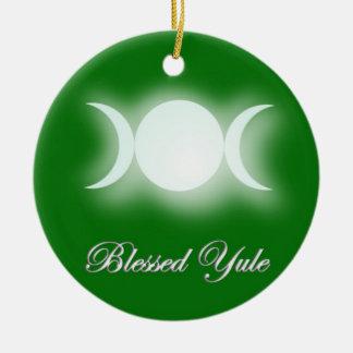 Blessed Yule (Triple Moon Goddess) Round Ceramic Decoration