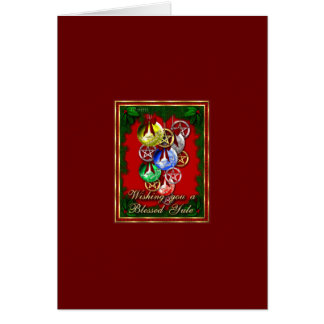 Blessed Yule Wicca Christmas Pentagram Greeting Cards