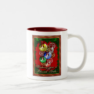 Blessed Yule Wicca Christmas Pentagram Two-Tone Coffee Mug