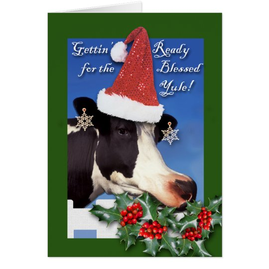 Blessed Yule, Winter Solstice, Cow in Santa Hat