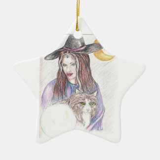Blessed Yule Witch Ceramic Star Decoration