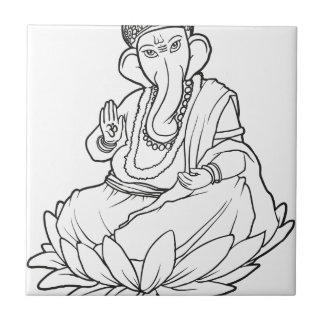 Blessing Ganesha - b/w version Small Square Tile