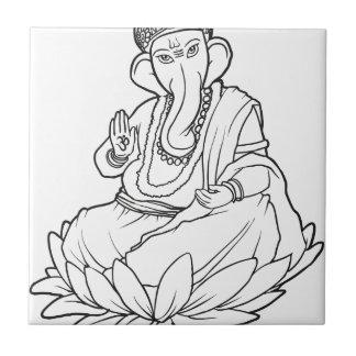 Blessing Ganesha - b/w version Ceramic Tile