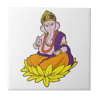 Blessing Ganesha Small Square Tile