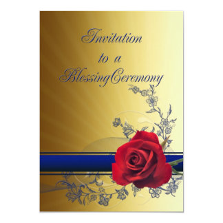 Blessing invitation with a red rose of love