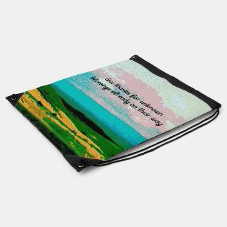 blessings and rural scene drawstring backpack