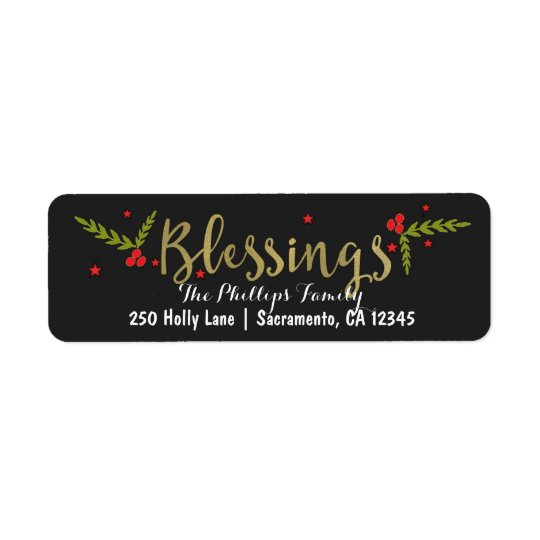 Blessings Black Gold & Red Christmas Holiday Card