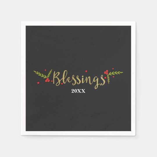 Blessings Black Gold & Red Christmas Holiday Party Paper Serviettes