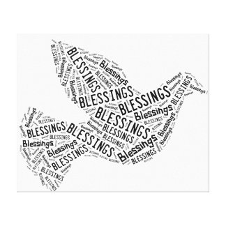 Blessings Dove, Black on White, Canvas Gallery Wrapped Canvas