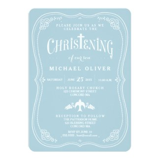 Blessings for Baby Boy Christening Invitation