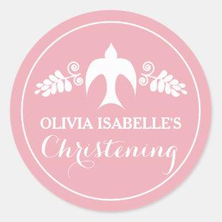 Blessings for Baby Girl Christening Invitation Round Sticker