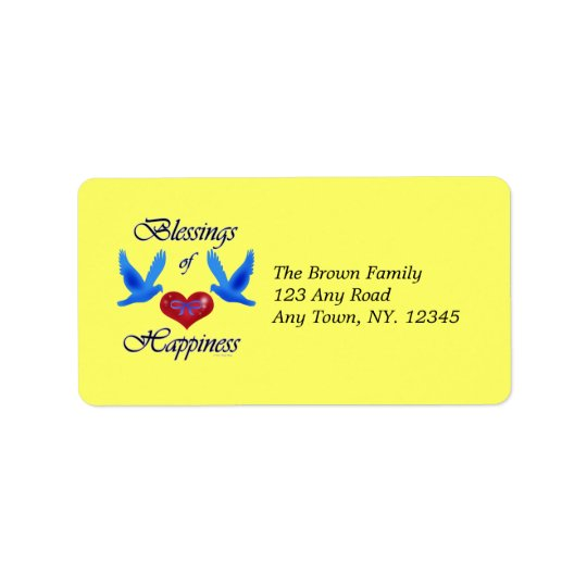 """Blessings of Happiness"" Label Address Label"