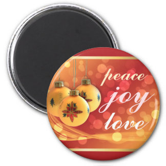 Blessings of Peace Joy Love Gold Red Festive 6 Cm Round Magnet