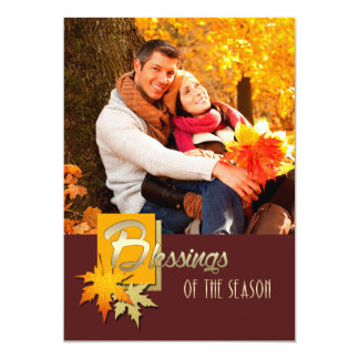 """Blessings of the Season. Thanksgiving Photo Cards 5"""" X 7"""" Invitation Card"""