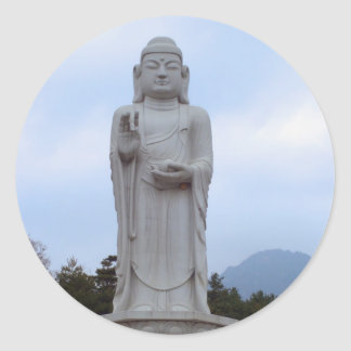 Blessings - Stone Buddha statue in Korea Classic Round Sticker