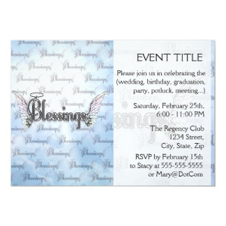 Blessings with clouds, angel wings and halo 13 cm x 18 cm invitation card
