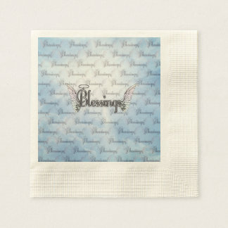 Blessings with clouds, angel wings and halo disposable serviette
