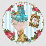Bleu Cakes and Pink RoseTea for Marie Antoinette Round Sticker