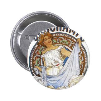Bleu Deschamps by Alphonse Mucha 6 Cm Round Badge