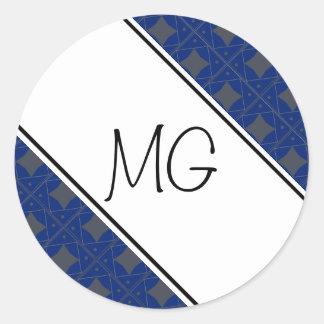 bleu et gris pattern round sticker