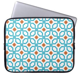 Bleu Orange Tiles Laptop Sleeve