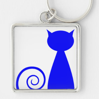 Blind Cat Rescue & Sanctuary Silver-Colored Square Key Ring