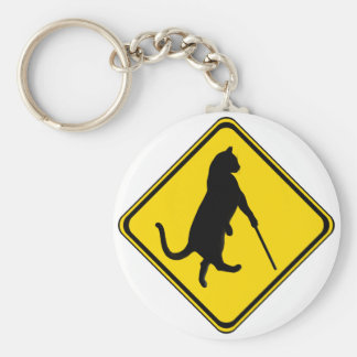 Blind Cats Crossing ! Basic Round Button Key Ring