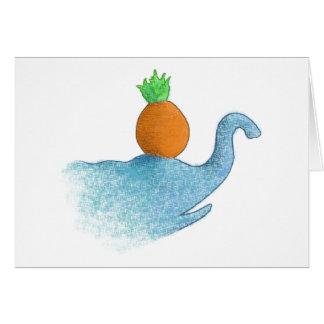 Blind elephant balancing a pineapple... card