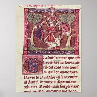 Blind goddess Fortune with King Arthur Poster