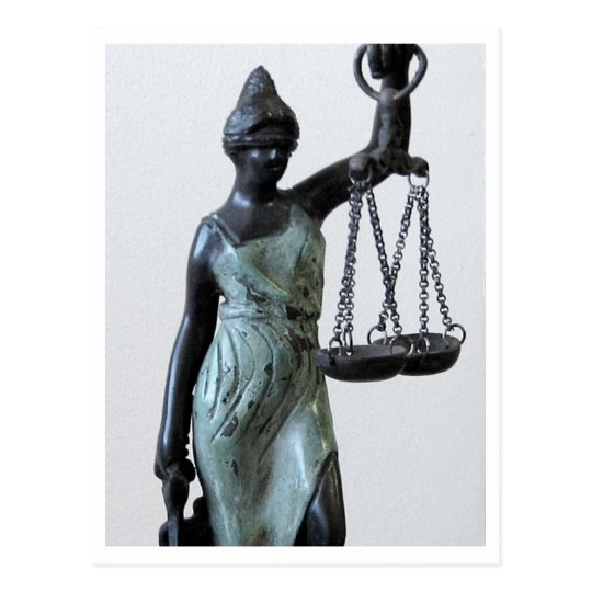 Blind lady of justice statue postcard