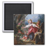 Blind-Mans Bluff by Jean-Honore Fragonard Square Magnet